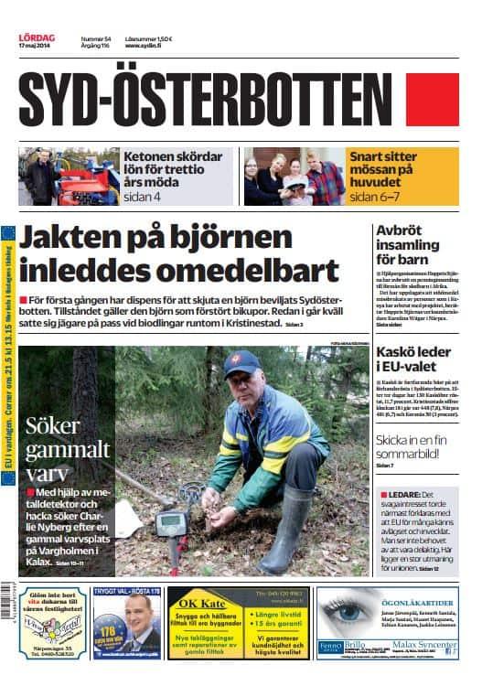 Syd-Österbotten -lehden kansi vuodelta 2014