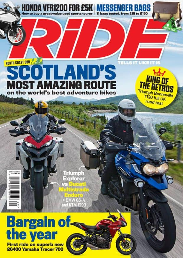 RiDE Magazine 9/2016. Scotland's Most Amazing Route. Bargain of the Year. King of the Retros.