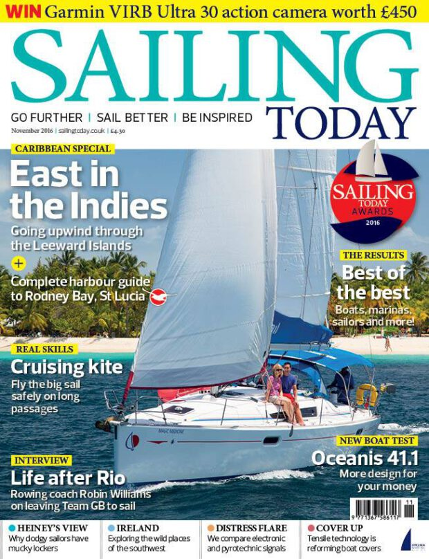 Sailing Today 11/2016. East in the Indies. Cruising kite. Life after Rio.