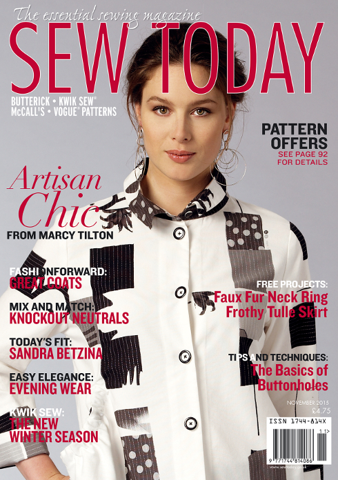 Sew Today 11/2015. Artisan Chic from Marcy Tilton.